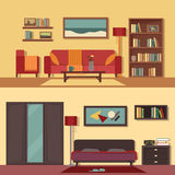 Wektorowi płascy ilustracyjni sztandary ustawiają abstrakt dla pokojów mieszkanie, dom Domowy wewnętrzny projekt Bawialnia Obraz Stock