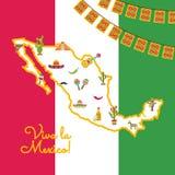 Wektorowi płascy Meksyk atrybuty na mapy meksykańskiej fladze royalty ilustracja
