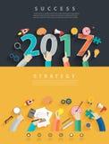 Wektorowi płascy projektów pojęcia dla biznesowej analizy i planowania nowego roku ilustracja wektor