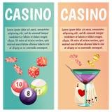 Wektorowi płascy sztandary z kasynowymi ikonami Duża wygrana, szczeliny, ruleta royalty ilustracja