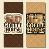 Wektorowi pionowo sztandary dla kawa domu Fotografia Royalty Free