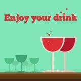 Wektorowi plakata lub ulotki witn wineglasses Zdjęcia Royalty Free