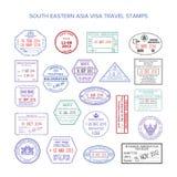 Wektorowi południowo wschodni Asia koloru podróży wizy znaczki ustawiający Zdjęcie Stock