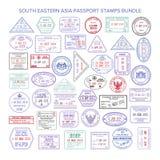 Wektorowi południowo wschodni Asia koloru podróży wizy znaczki wiążą Zdjęcie Stock