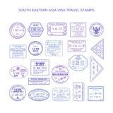 Wektorowi południowo wschodni Asia podróży wizy pospolici znaczki ustawiający Zdjęcia Royalty Free