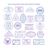 Wektorowi południowo wschodni Asia podróży wizy znaczki ustawiający Fotografia Stock