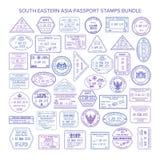 Wektorowi południowo wschodni Asia podróży wizy znaczki ustawiający Obraz Royalty Free