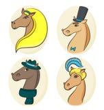 Wektorowi portrety cztery eleganckiego konia royalty ilustracja