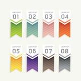 Wektorowi postępów sztandary z tasiemkowymi kolorowymi etykietkami Zdjęcie Stock