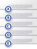 Wektorowi postęp opcj A-E kroki z błękitnymi szpilkami Fotografia Stock