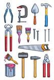 Wektorowi prac narzędzia stwarzają ognisko domowe remontowe koloru nakreślenia ikony Obrazy Stock