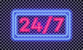 Wektorowi 7 praca czasu 24 neonowego światła szyldowy styl z kolorową ramą royalty ilustracja