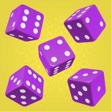 Wektorowi purpurowi kostka do gry ustawiający ilustracji
