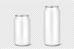 Wektorowi realistyczni 3d opróżniają glansowanego metalu piwa białą aluminiową paczkę lub mogą projekt 330ml 500ml Może używać dl Zdjęcia Stock