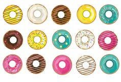 Wektorowi realistyczni donuts kolekcje, set odosobneni przedmioty na bia?ym tle ilustracja wektor