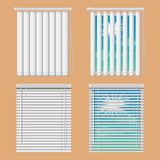 Wektorowi realistyczni ilustracyjni okno z otwartym i zamykają horyzontalne i pionowo niewidome zasłony obrazy royalty free