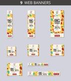 Wektorowi reklamowi sieć sztandary z dużą sprzedażą z deseniowymi sercami na koloru żółtego polu i Zdjęcia Stock