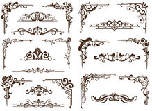 Wektorowi roczników ornamenty, kąty, graniczą Zdjęcie Stock