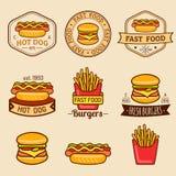 Wektorowi rocznika fasta food logowie ustawiający Retro łasowanie podpisuje kolekcję Bistra, przekąska bar, uliczne restauracyjne ilustracji