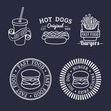 Wektorowi rocznika fasta food logowie ustawiający Retro łasowanie podpisuje kolekcję Bistra, przekąska bar, uliczne restauracyjne ilustracja wektor