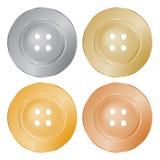 Wektorowi round szy guziki złoto, srebro, brąz, mosiądz Zdjęcie Stock