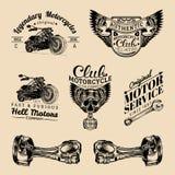 Wektorowi rowerzysty klubu znaki Motocykli/lów remontowi logowie ustawiający Retro ręka kreślić garaż etykietki Obyczajowi siekac Zdjęcie Stock