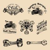 Wektorowi rowerzysty klubu znaki Motocykli/lów remontowi logowie ustawiający Retro ręka kreślić garaż etykietki Obyczajowi siekac ilustracja wektor