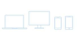 Wektorowi rysunki dla telefonów komórkowych, komputerów i notatników, ilustracja wektor