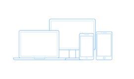 Wektorowi rysunki dla telefonów komórkowych, komputerów i notatników, royalty ilustracja