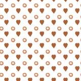 Wektorowi serca i polki kropki wzór w brown kawowym kolorze Zdjęcie Stock