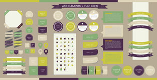 Wektorowi sieć elementy, guziki i etykietki, Miejsce Navi Ilustracji