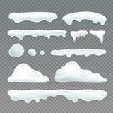 Wektorowi sople i snowcap elementy ilustracja wektor