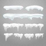 Wektorowi sople i snowcap elementy na przejrzystym ilustracja wektor