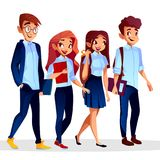 Wektorowi studenci collegu w uniwersyteckiej odzieży, mundur royalty ilustracja