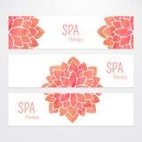 Wektorowi szablony sztandary z akwarela lotosowego kwiatu czerwony mandala Obraz Royalty Free