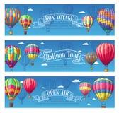 Wektorowi sztandary dla gorące powietrze balonu podróży podróży ilustracji
