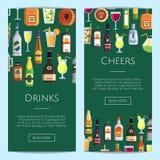 Wektorowi sztandary ilustracyjni z alkoholicznymi napojami w szkłach i butelkach ilustracja wektor