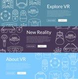 Wektorowi sztandary ilustracyjni z liniowymi stylowymi rzeczywistość wirtualna elementami ilustracja wektor