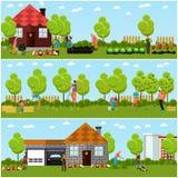 Wektorowi sztandary ogrodnictwo, horticulture ilustracja wektor