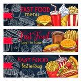 Wektorowi sztandary ustawiający dla fast food restauraci menu fotografia royalty free