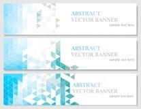 Wektorowi sztandary z abstrakcjonistycznym stubarwnym poligonalnym mozaiki tłem Zdjęcia Stock