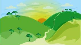 Wektorowi tła, góry, łąki i słońca, ilustracji