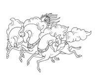 Wektorowi trzy konturowej linii Rosyjscy konie w rosjaninie projektują Trojka galopujący konie w czarnym konturze na białym tle ilustracja wektor