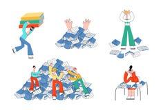 Wektorowi ucznie i ewidencyjny przeciążenie męczą a royalty ilustracja