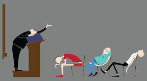Wektorowi ucznie w sala lekcyjnej, śpi w odczytowym nauczycielu