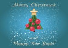 Wektorowi Wesoło boże narodzenia i Szczęśliwa nowy rok pocztówka kreskówki zielony drzewo z śniegiem royalty ilustracja