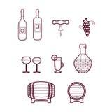 Wektorowi win Icons/Ustawiający wino symbol ilustracji
