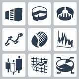 Wektorowi wykresy i map ikony ustawiać Zdjęcia Royalty Free