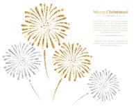 Wektorowi złociści i srebni fajerwerki na białym tle royalty ilustracja