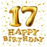 Wektorowi Złoci siedemnaście liczby 17 kruszcowy balon Partyjnej dekoraci złoci balony Rocznica znak dla szczęśliwego wakacje, ce Fotografia Royalty Free